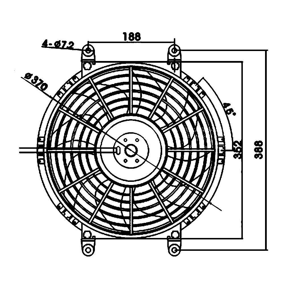 Вентилятор осевой 14″ 12V 130W